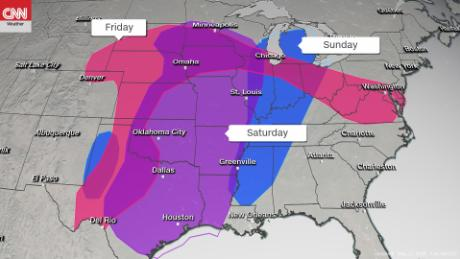 The threat of tornadoes, large hail and damaging winds is possible across the central US.