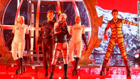 "Iceland's Hatari performs the song ""Hatrið mun sigra"" during the first Eurovision semi-final at Expo Tel Aviv on May 14, 2019."