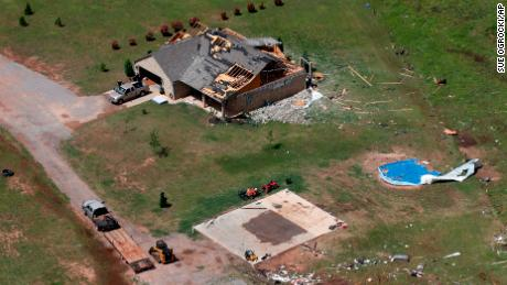 A house damaged in a tornado  in Mangum, Oklahoma.