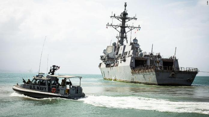 The USS Chung-Hoon leaves Djibouti on its way back to its home port. The destroyer took part in this year's Cutlass Express exercise.