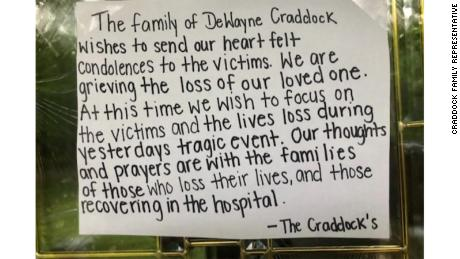 A representative for the family of Dewayne Craddock sent a photo of a note on their door with their statement to CNNís Scott Glover.