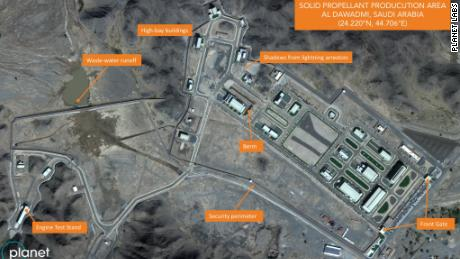 Satellite imagery captured on November 13, 2018 shows a suspected ballistic missile factory at a missile base in al-Watah, Saudi Arabia. Image was initially discovered by Planet Labs and the Middlebury Institute of International Studies at Monterey.