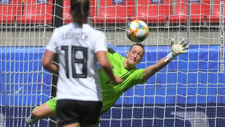 Germany's goalkeeper Almuth Schult keeps her team in the match during a trying first half against China.