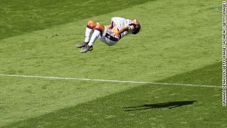 Kerr's now familiar backflip celebration has endeared her to Austalia's football fans.