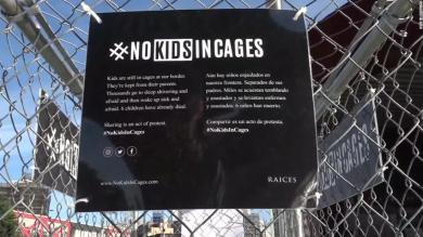Activists left child-sized mannequins in cages around New York this morning