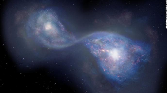 Artist's impression of the merging galaxies B14-65666 located 13 billion light years-away.
