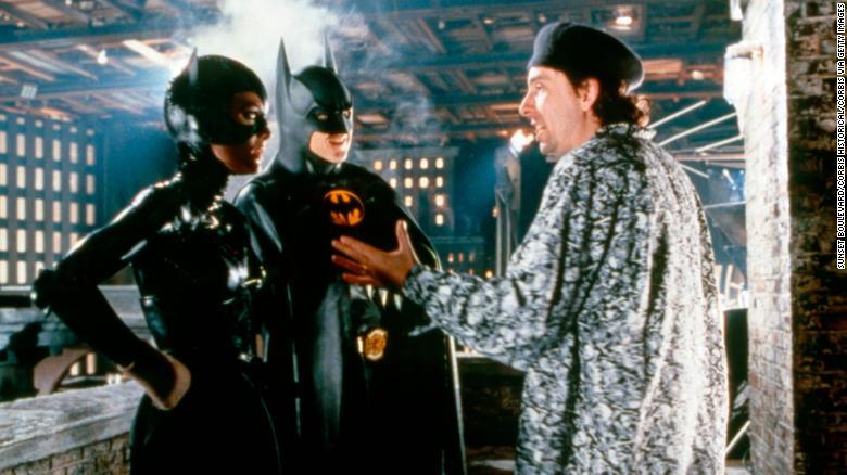 "Michelle Pfeiffer and Michael Keaton with director Tim Burton on the set of ""Batman Returns."""