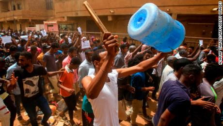 Police fired tear gas at protesters in Khartoum as thousands gathered for a mass demonstration.