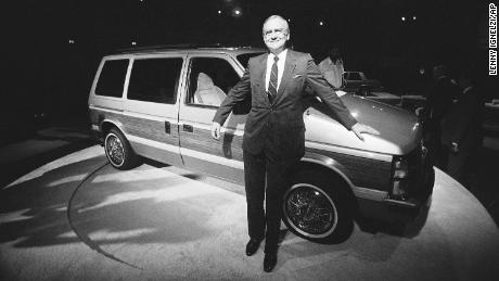 Lee Iacocca, chairman of the board of Chrysler Corporation, shows off Chryslers' Plymouth Vager T-115, August 31, 1983 in San Diego.