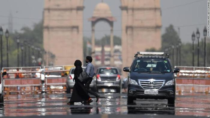 A mirage shimmers  in New Delhi on June 10, 2019.