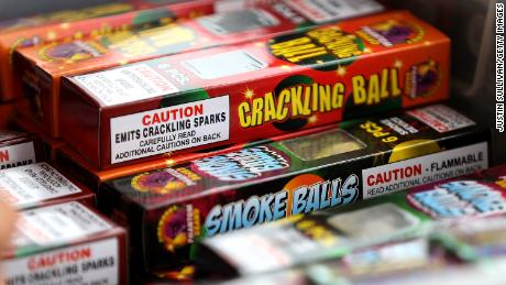 Fireworks are displayed at the Rotary Club of San Bruno fireworks stand on June 30, 2017 in San Bruno, California.