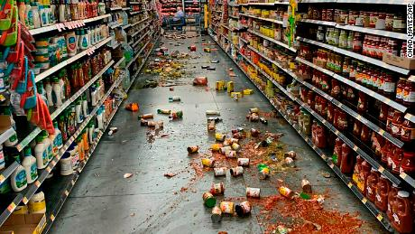 Food fell from shelves at a Walmart in Yucca Valley, California, after the major quake Friday.