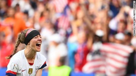 The US team's defender, Becky Sauerbrunn, celebrates after the final whistle during the France 2019 Women's World Cup football final match between the US and the Netherlands yesterday.