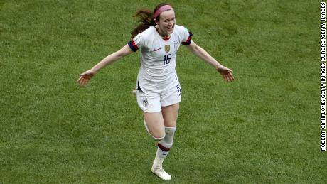 Rose Lavelle of the US team celebrates after scoring her team's second goal during the  match between the US  and the Netherlands.
