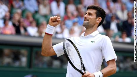 Djokovic celebrates match point against David Goffin.