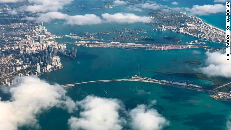 A view of downtown Miami and South Beach from a plane shows the oceanfront development of the past.