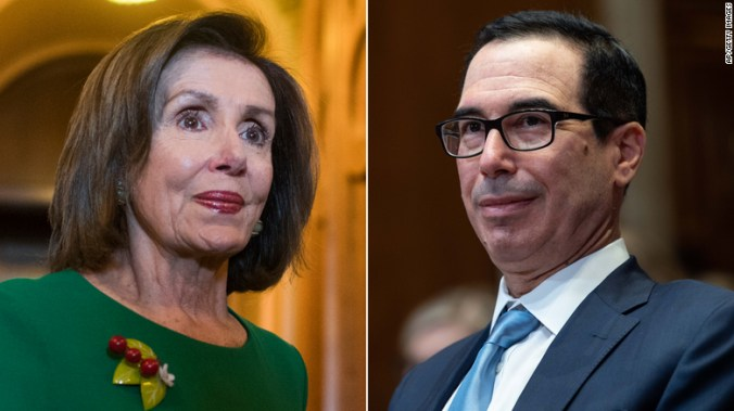 House Speaker Nancy Pelosi, at left, announced Tuesday she had a deal with Treasury Secretary Steven Mnuchin, pictured at right, to fund the US federal government until December.
