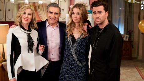"(From left) Catherine O'Hara, Eugene Levy, Annie Murphy and Daniel Levy star in Pop TV's ""Schitt's Creek,"" which swept the 2020 Emmys."