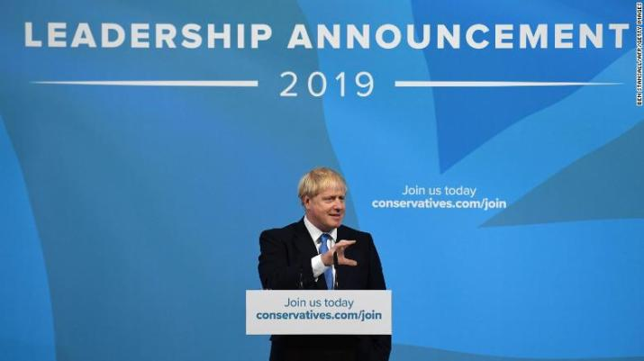 New Conservative Party leader and incoming Prime Minister, Boris Johnson, addresses party members Tuesday.