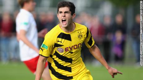 Pulisic  of Dortmund celebrates after scoring for the Borussia Dortmund Under-17 team.