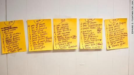 Lists of schools supplies line the wall inside of the donation room at the Trinity Mission Center in Forest, Mississippi.