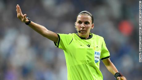 Match referee, Stephanie Frappart reacts during the UEFA Super Cup match.