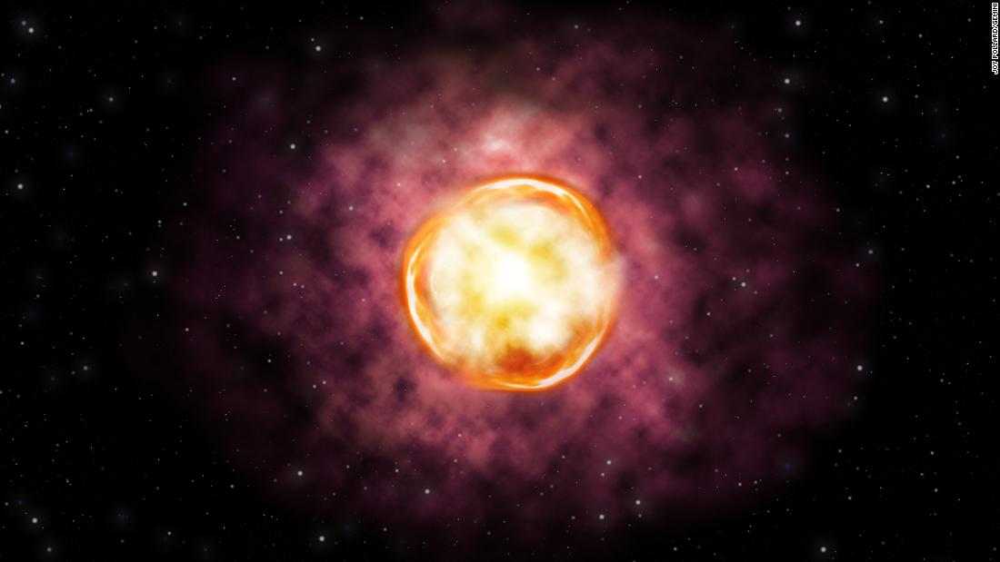 An artist's concept of the explosion of a massive star within a dense stellar environment.