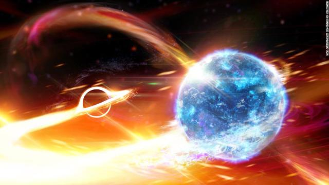 This is an artist's depiction of a black hole about to swallow a neutron star. Detectors signaled this possible event on August 14.