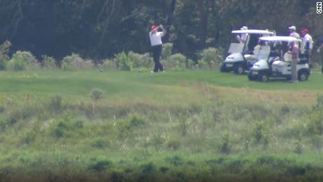 President Donald Trump golfs at his Trump National Golf Club in Sterling, Virginia on Monday, September 2, 2019.
