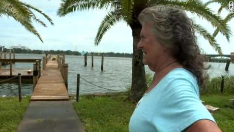 """Mary Gordon of Daytona Beach says she's worried about the storm but not planning to evacuate. """"I see more scary things than I have in the past,"""" she told CNN on Monday. """"The water at the last ones was never this high this far ahead of the actual storm."""""""