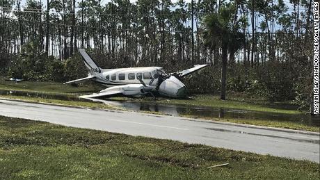 Debris left by Hurricane Dorian litters Grand Bahama International Airport on Wednesday in Freeport.