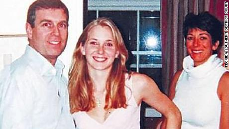 Photograph appearing to show Prince Andrew with Jeffrey Epstein's accuser Virgina Guiffre