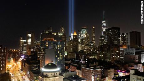 The Tribute in Light rises above the lower Manhattan skyline on Tuesday in New York.