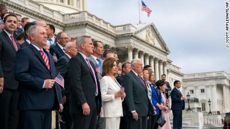 Members of Congress gather Wednesday at the Capitol to observe the anniversary of the September 11 attacks.