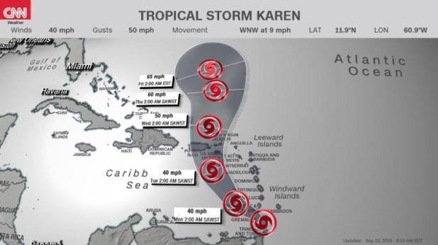 Tropical Storm Warning Karen