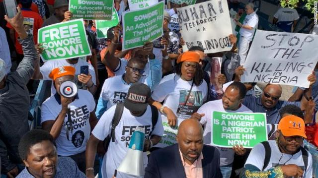 Protesters at UN Plaza in New York call for Sowore's release Tuesday.
