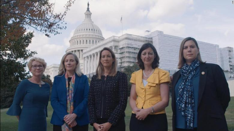 From left to right, Rep. Chrissy Houlahan of Pennsylvania, Rep. Abigail Spanberger of Virginia, Rep. Mikie Sherill of New Jersey, Rep. Elaine Luria of Virginia, and Rep. Elissa Slotkin of Michigan.