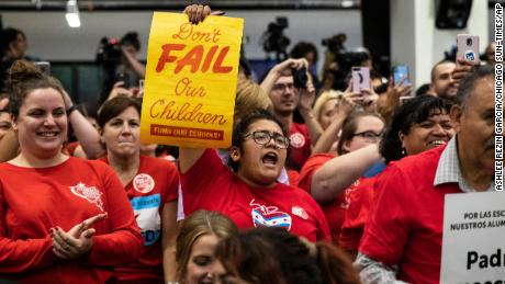 Educators rallied at the Chicago Teachers Union headquarters last month as they prepared for a strike.