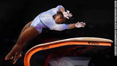 Biles twists before hitting the vaulting table and soaring into the air the 2019 world championships.