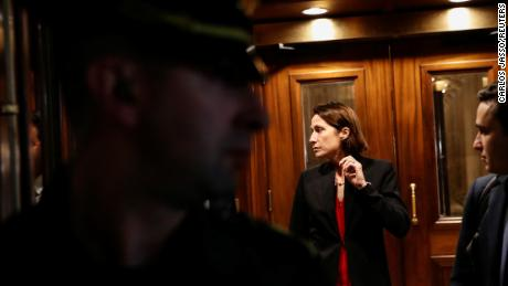 Fiona Hill, former director of European and Russian affairs at the National Security Council, resigns after testifying as part of the Capitol's indictment investigation in Washington on October 14, 2019.