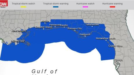 Tropical storm warnings as of 8 a.m. ET Friday.