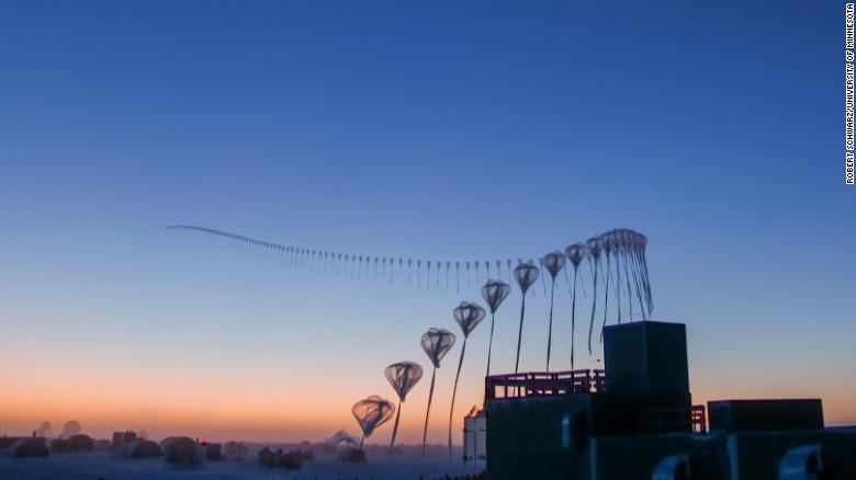 A timelapse of weather balloons used to measure ozone.