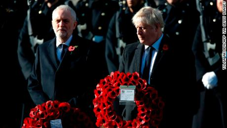 British Prime Minister Boris Johnson and Labor Party opposition leader Jeremy Corbyn prepare for the wreath-laying ceremony as they attend the Sunday commemoration ceremony.