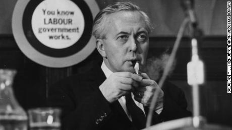 Harold Wilson lighting his pipe at the Labour Party Conference in 1966.