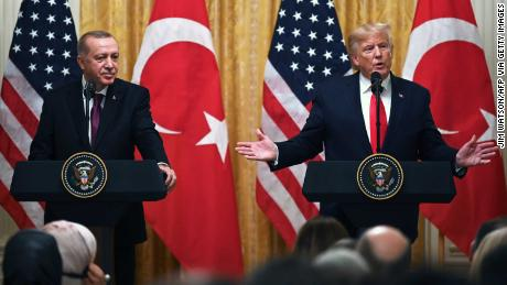 Trump and Erdogan take part in a joint press conference at the White House in 2019.