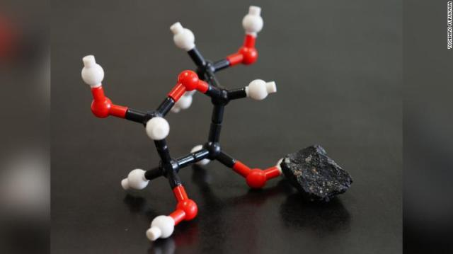 A model of the molecular structure of ribose, which was found in a meteorite.