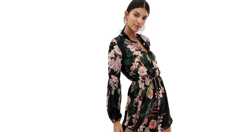 Parisian Tall collarless shirt dress in floral print