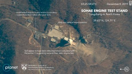 Commercial satellite images of a site in North Korea after a suspected engine test may have recently occurred.