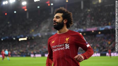 Salah festeggia dopo il gol il Liverpool's secondo gol.