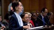 Aung San Suu Kyi speaks at the ICJ in December.